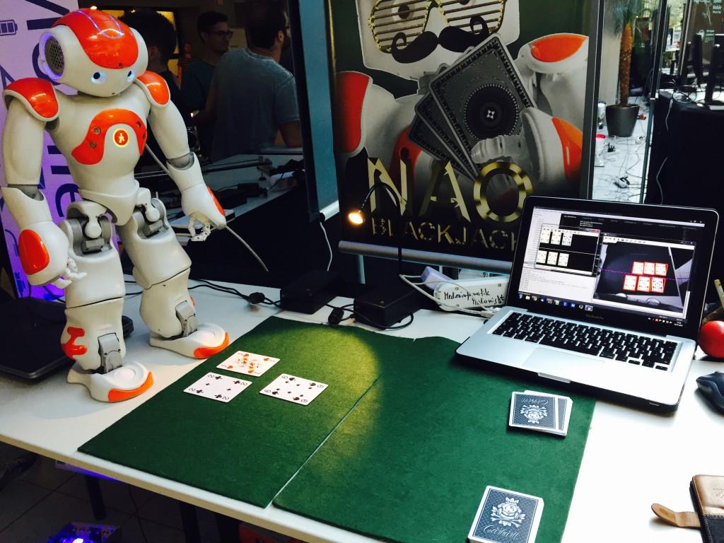NAO robot playing game cards